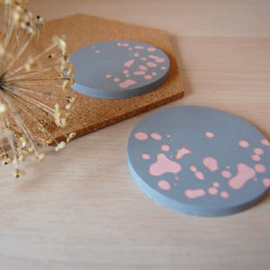 Grey & Pink Coaster Set