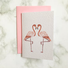 Load image into Gallery viewer, Flamingo Heart Card