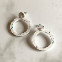 Load image into Gallery viewer, White Terrazzo Hoop Studs