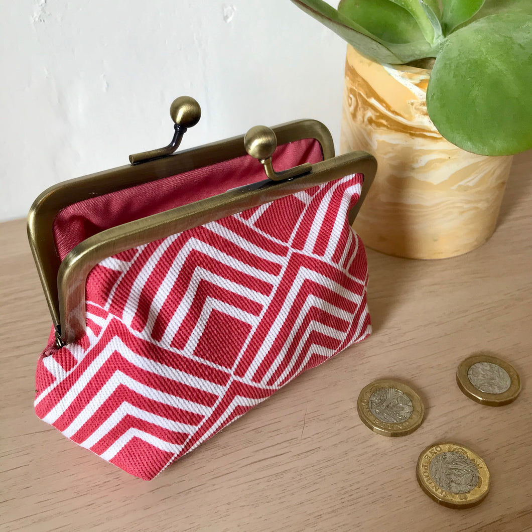 Geometric Red Metal Framed Purse