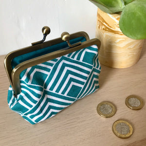 Geometric Turquoise Metal Framed Purse