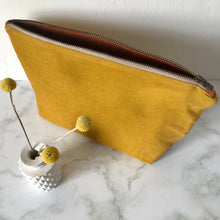 Load image into Gallery viewer, Mustard Corduroy Zip Bag