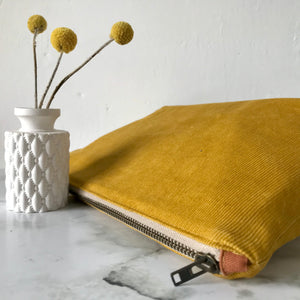 Mustard Corduroy Zip Bag
