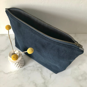 Navy Corduroy Zip Bag