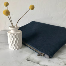 Load image into Gallery viewer, Navy Corduroy Zip Bag
