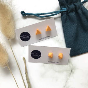 Jesmonite Mini Orange Earring Studs
