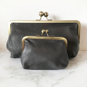Light Grey Leather Clutch Bag