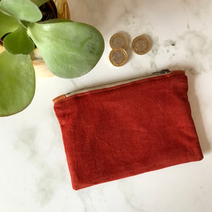 Rust Corduroy Zip Purse