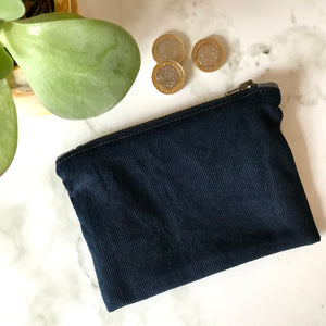 Navy Corduroy Zip Purse