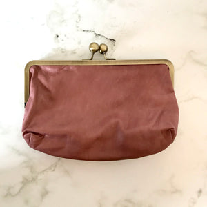 Blush Leather Clutch Bag