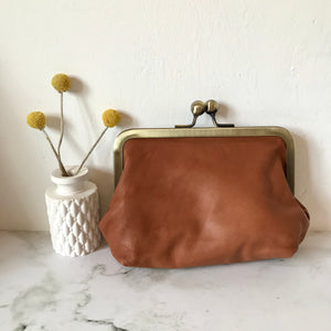 Tan Leather Large Purse