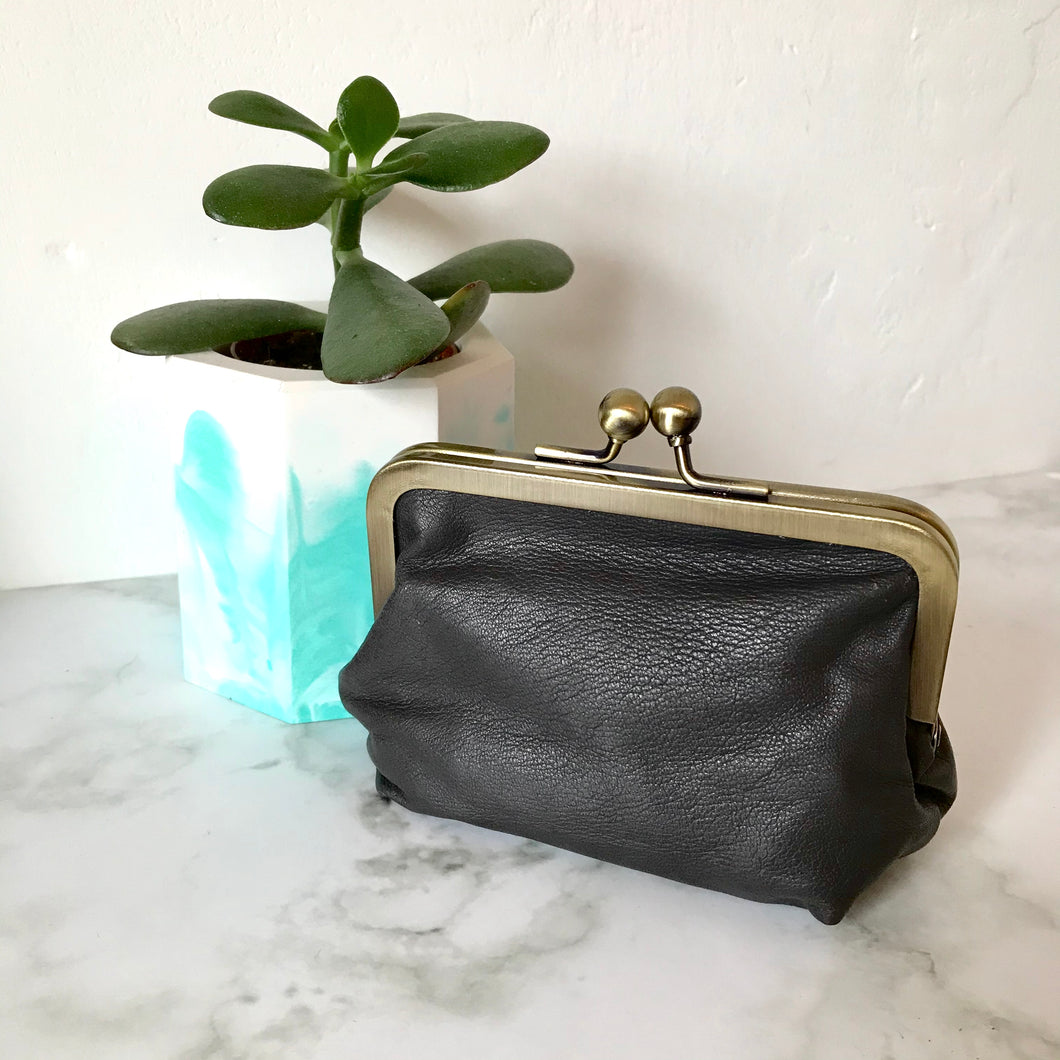 Light Grey Leather Card Purse