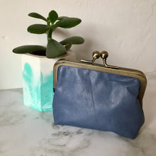 Load image into Gallery viewer, Blue Leather Card Purse