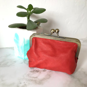 Coral Leather Card Purse