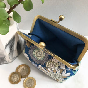 Blue Floral Metal Framed Purse