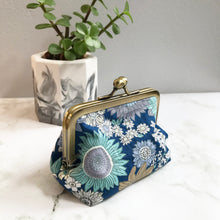 Load image into Gallery viewer, Blue Floral Metal Framed Purse