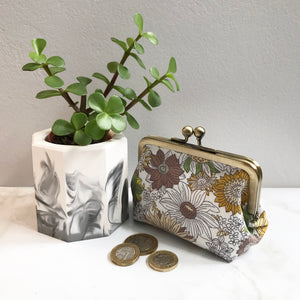 Mustard Floral Metal Framed Purse