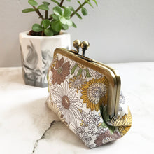 Load image into Gallery viewer, Mustard Floral Metal Framed Purse
