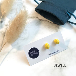 Jesmonite Mini Bright Yellow Earring Studs