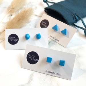 Jesmonite Mini Blue Earring Studs