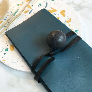 Dark Teal Leather Wrap Wallet