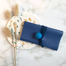 Load image into Gallery viewer, Blue Leather Wrap Wallet