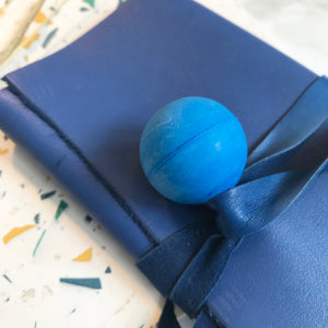 Blue Leather Wrap Wallet