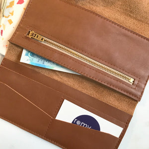 Tan Leather Wrap Wallet