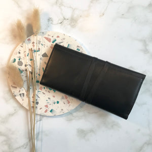 Black Leather Wrap Wallet