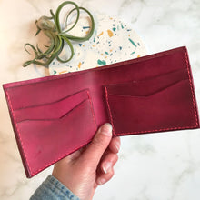 Load image into Gallery viewer, Bi-Fold Pink Leather Wallet
