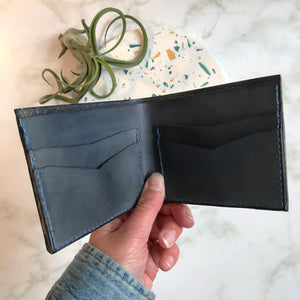 Bi-Fold Navy Leather Wallet