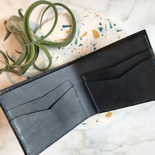 Load image into Gallery viewer, Bi-Fold Navy Leather Wallet