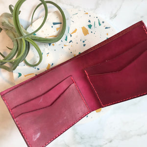 Bi-Fold Pink Leather Wallet