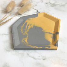 Load image into Gallery viewer, Grey & Mustard Marbled Angular Tray #2