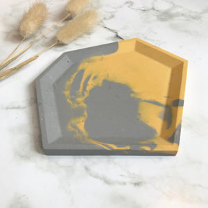 Grey & Mustard Marbled Angular Tray #2