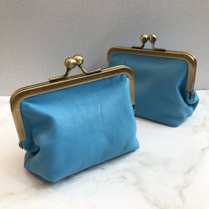 Carolina Blue Leather Card Purse