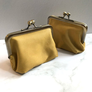 Mega Yellow Leather Card Purse
