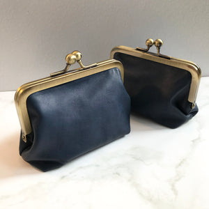 Navy Leather Card Purse