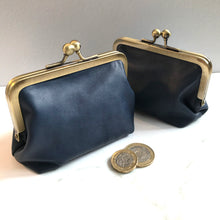 Load image into Gallery viewer, Navy Leather Card Purse