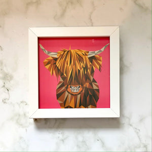 Mini Framed Highland Cow