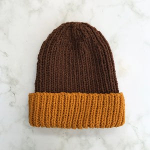 Knitted Hat in Dark Brown