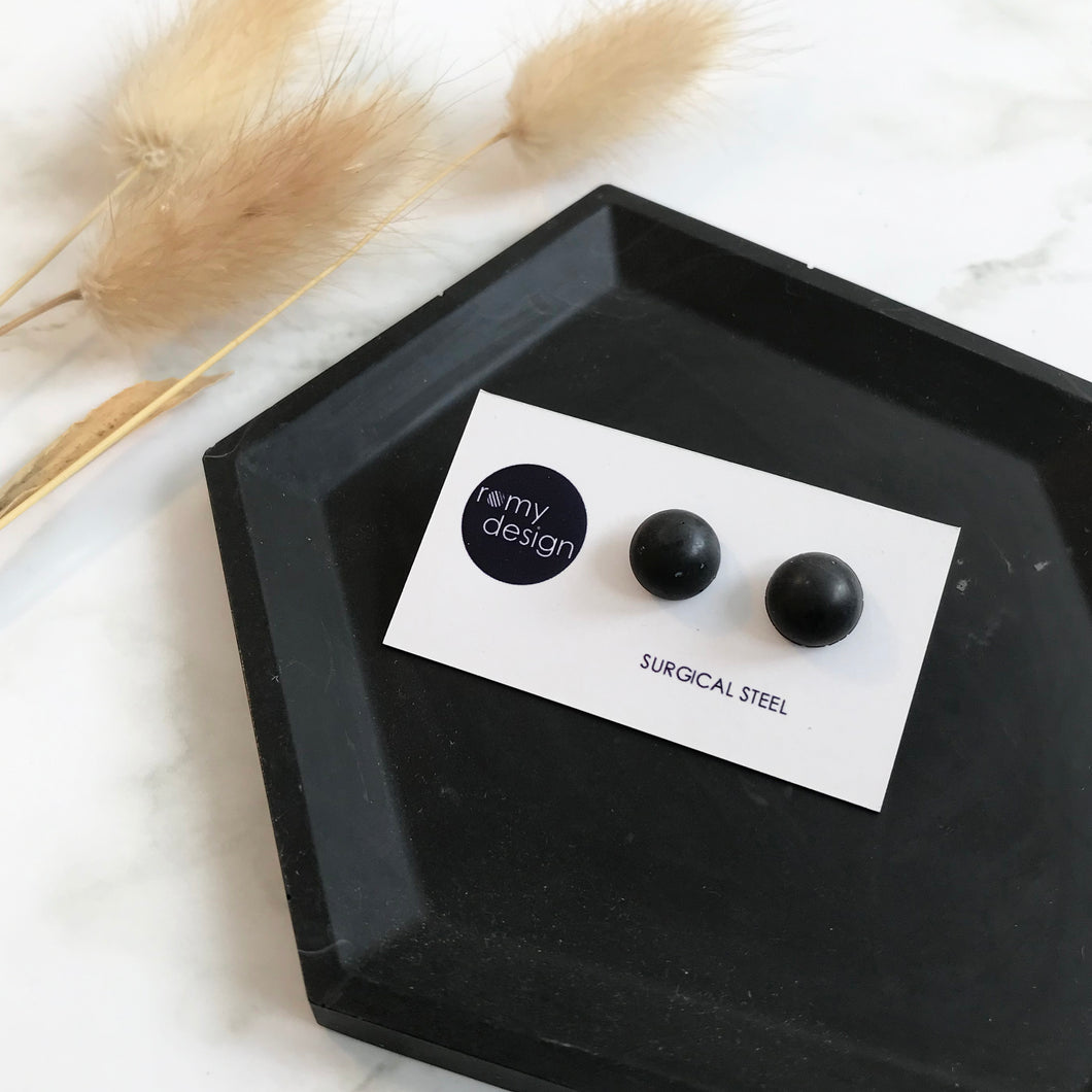 Black Dome Earring Studs