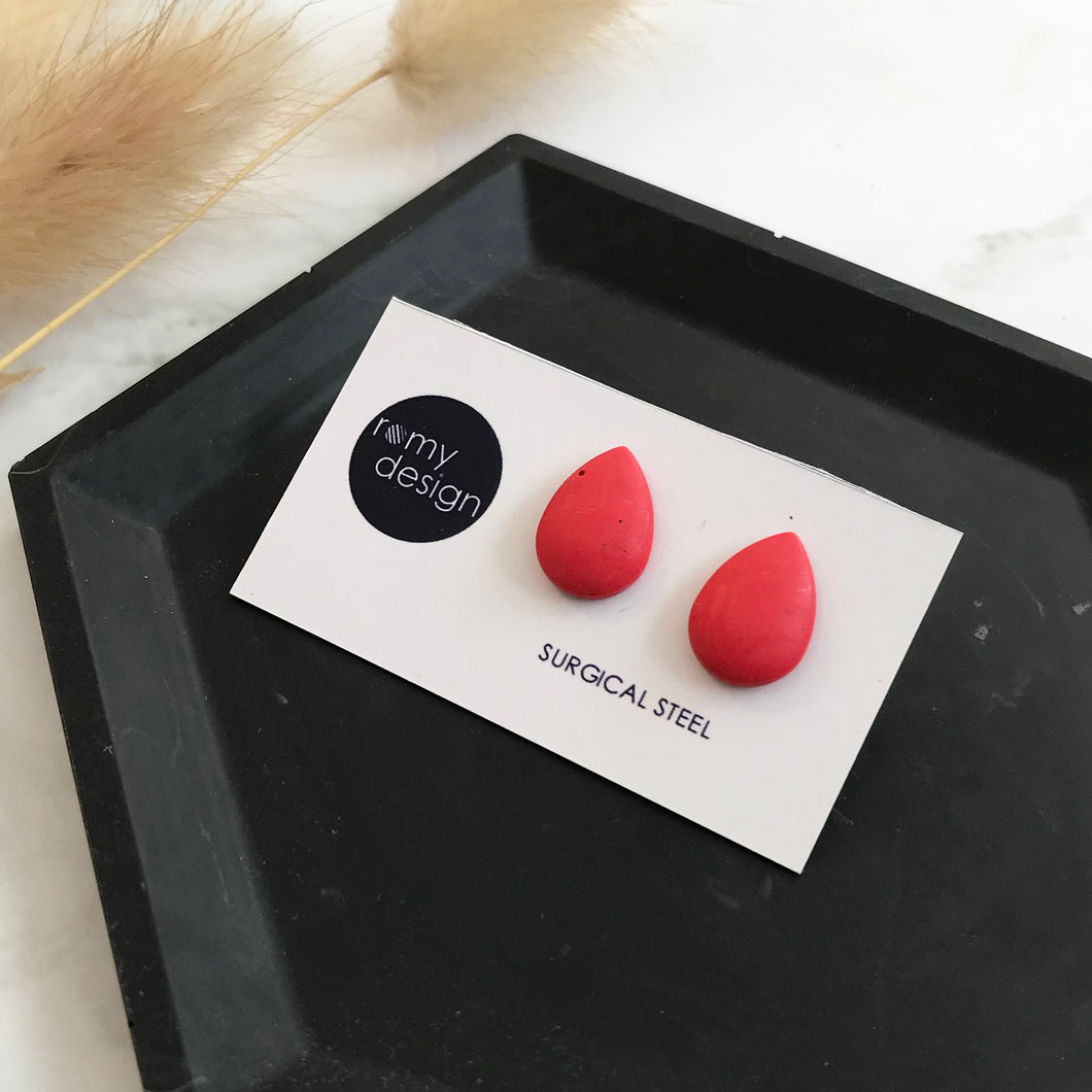 Red Teardrop Earring Studs