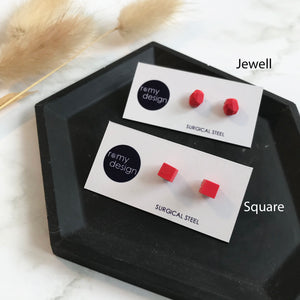 Jesmonite Mini Red Earring Studs
