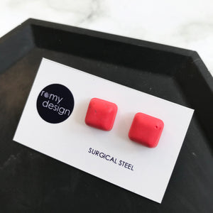 Red Square Earring Studs