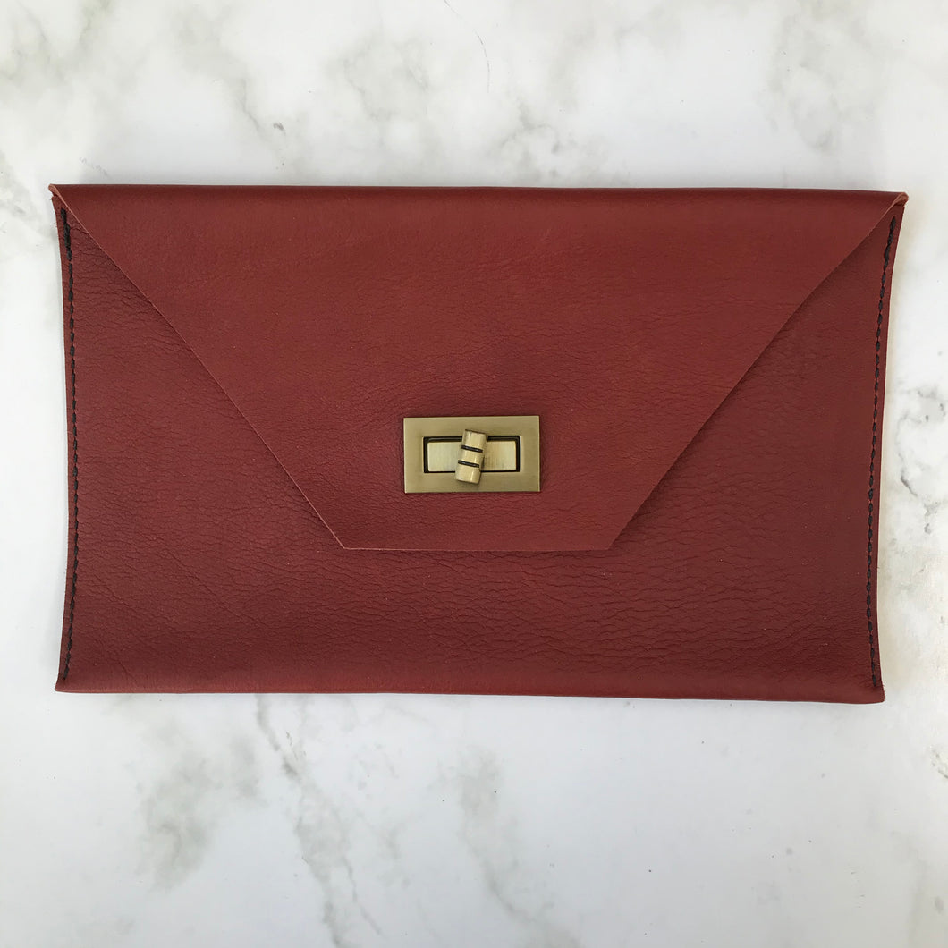 Twist Turn Leather Clutch
