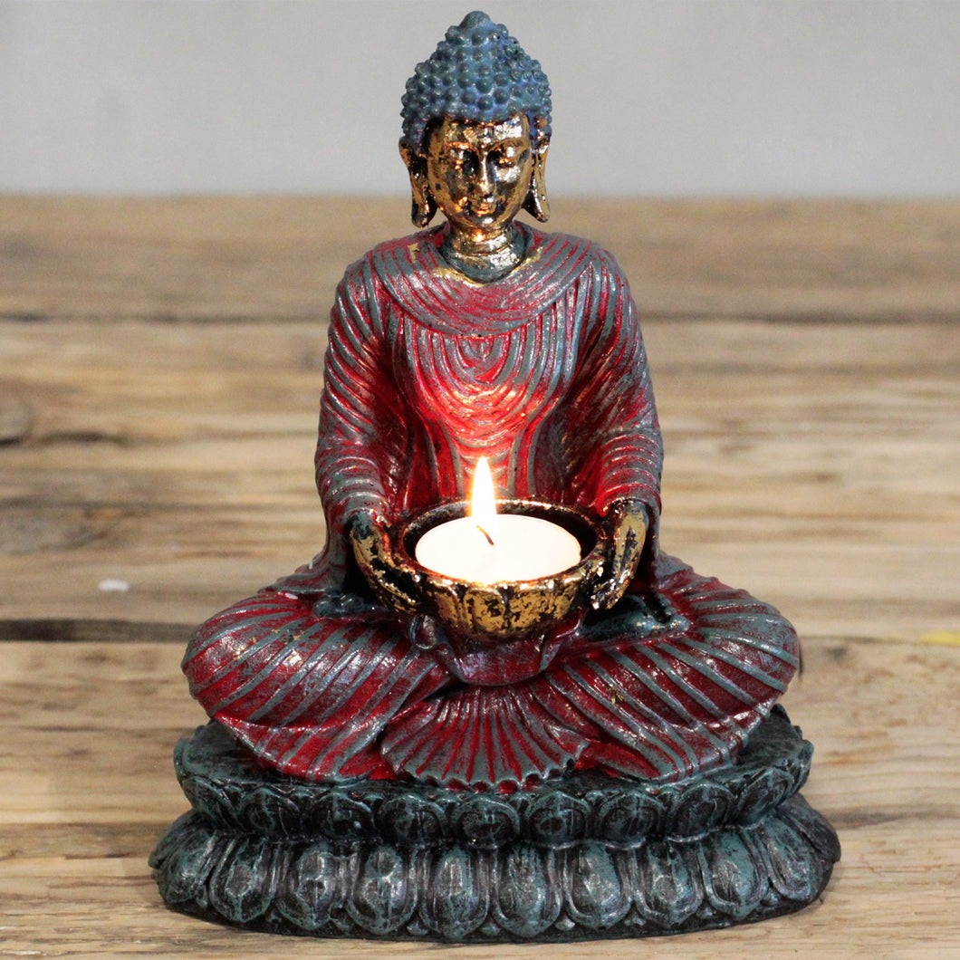 Antique Buddha Devotee Candle Holder
