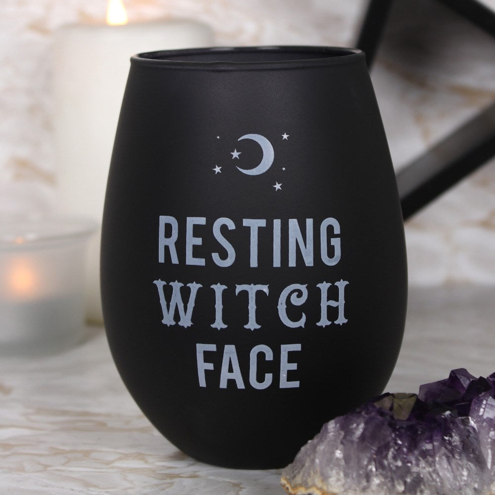 Resting Witch Face Stemless Glass