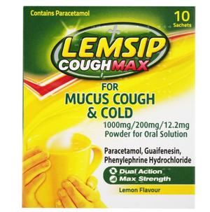 Lemsip - Cough Max for Mucus Cough & Cold - lemon flavour - 10 sachets