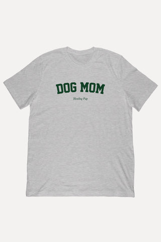 Dog Mom Block - Athletic Heather Shirt Green Text
